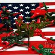 Fallen Toy Soliders On American Flag Print by Amy Cicconi