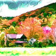 Falling Farm Blended Art Styles Print by John Haldane