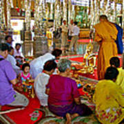 Families Awaiting Teaching From A Monk At Wat Tha Sung Temple In Uthaithani-thailand Art Print