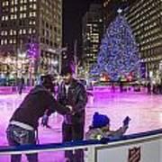 Family At Detroit Ice Rink   Art Print