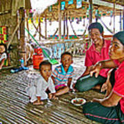 Family In Countryside Outside Of Siem Reap-cambodia Art Print