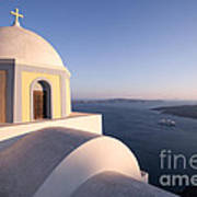 Famous Orthodox Church In Santorini Greece At Sunset Art Print by Matteo Colombo