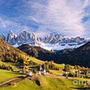 Famous View St Magdalena With Odle Mountains In The Dolomites Italy Art Print