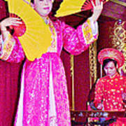 Fan Dancer And Monochord Player In Court Music Show At Citadel Of Nguyen Dynasty In Hue-vietnam Art Print