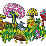 Fanciful Mushroom Nature Doodle Art Print