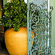 Fancy Gate And Plain Pot Art Print