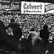 Fans In The Bleachers During A Baseball Game At Yankee Stadium Art Print by Underwood Archives
