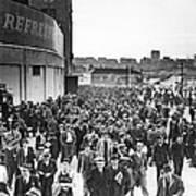 Fans Leaving Yankee Stadium. Art Print by Underwood Archives
