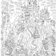 Fantasy Landscape. Fairy Tale Castle On Art Print