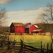 Farm - Barn - Just Up The Path Art Print by Mike Savad