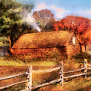 Farm - Barn - Our Cabin Art Print by Mike Savad