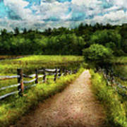 Farm - Fence - Every Journey Starts With A Path  Art Print