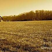 Farm Field With Old Barn In Sepia Art Print