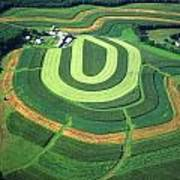 Farm Greens And Hillside Contour Plowing Art Print