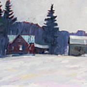 Farm In The Snow Art Print