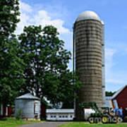Farm - John Deere Tractor And Silos Art Print