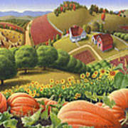 Farm Landscape - Autumn Rural Country Pumpkins Folk Art - Appalachian Americana - Fall Pumpkin Patch Art Print