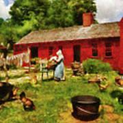 Farm - Laundry - Old School Laundry Art Print by Mike Savad