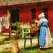 Farm - Laundry - Washing Clothes Art Print