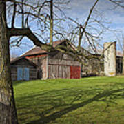 Farm Scene With Barns And Silo Art Print