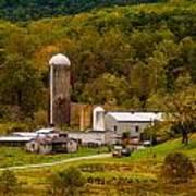 Farm View With Mountains Landscape Art Print