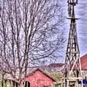 Farm - Windmill - Red Barn Farm - Missouri Art Print