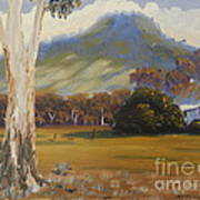 Farm With Large Gum Tree Art Print