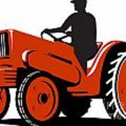 Farmer Driving Vintage Tractor Retro Art Print