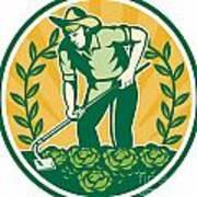 Farmer Gardener With Garden Hoe Cabbage Art Print by Aloysius Patrimonio