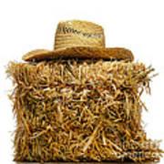 Farmer Hat On Hay Bale Art Print