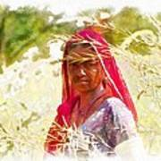 Farmers Fields Harvest India Rajasthan 8 Art Print