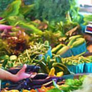Farmer's Market Produce Stall Art Print