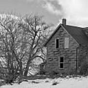 Farmhouse Black And White Art Print