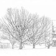 Farmhouse In Winter Art Print