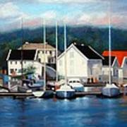 Farsund Dock Scene Painting Art Print by Janet King