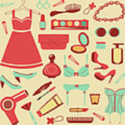 Fashion Items Set Art Print