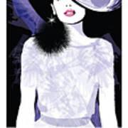 Fashion Woman Model With A Black Hat - Art Print