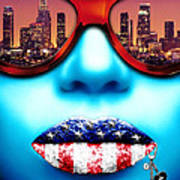 Fashionista Los Angeles Silver Art Print