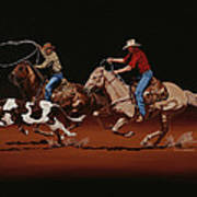 Fast Horses And Sure Ropes Art Print