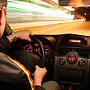 Fast night drive Art Print