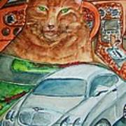Fat Cat And The Bentley Art Print