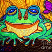 Fat Green Frog On A Sunflower Art Print
