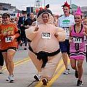 Fat Lady Ghost Goblin 5k Runners In Costumes Art Print