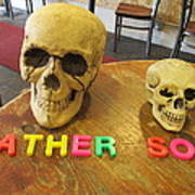 Father And Son - Toy Skulls At The Cafe Art Print