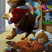 Father Christmas Lion Delivering Presents Art Print by Martin Davey