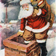 Father Christmas Popping Down The Chimney To Deliver Gifts To The Good.  Art Print