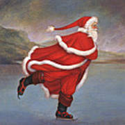 Father Christmas Skating On Duddingston Loch Art Print