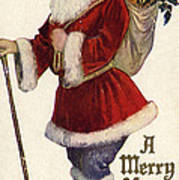 Father Christmas With A Bag Of Toys Art Print