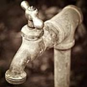 Faucet In Fall Art Print by Cathie Tyler