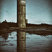 Fct3 Fire Control Tower Reflections In Sepia Art Print